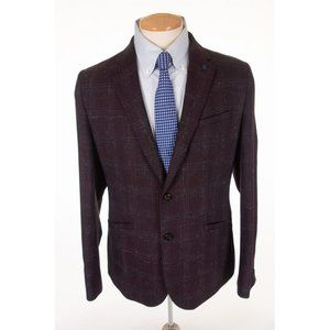 TED BAKER New Brown Checked Wool Suit Jacket $485